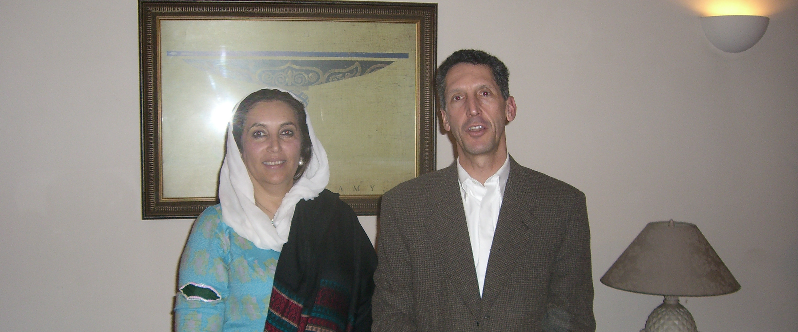 Edward P. Joseph photographed with Benazir Bhutto in Peshawar, Pakistan, on 26 December, 2007 -- less than 24 hours before she was assassinated.  Our wide-ranging meeting lasted 90 minutes. Bhutto was engaging, determined and fearless.