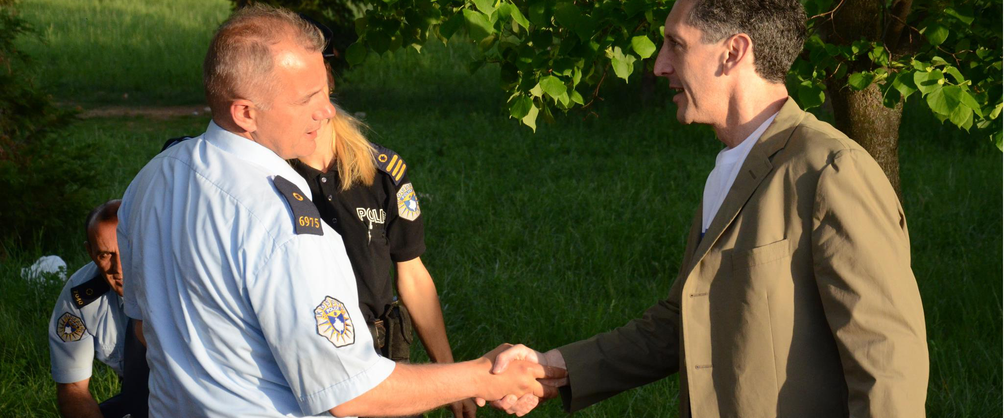 Greeting Kosovo police during OSCE-organized Serbian elections in Kosovo; May, 2012