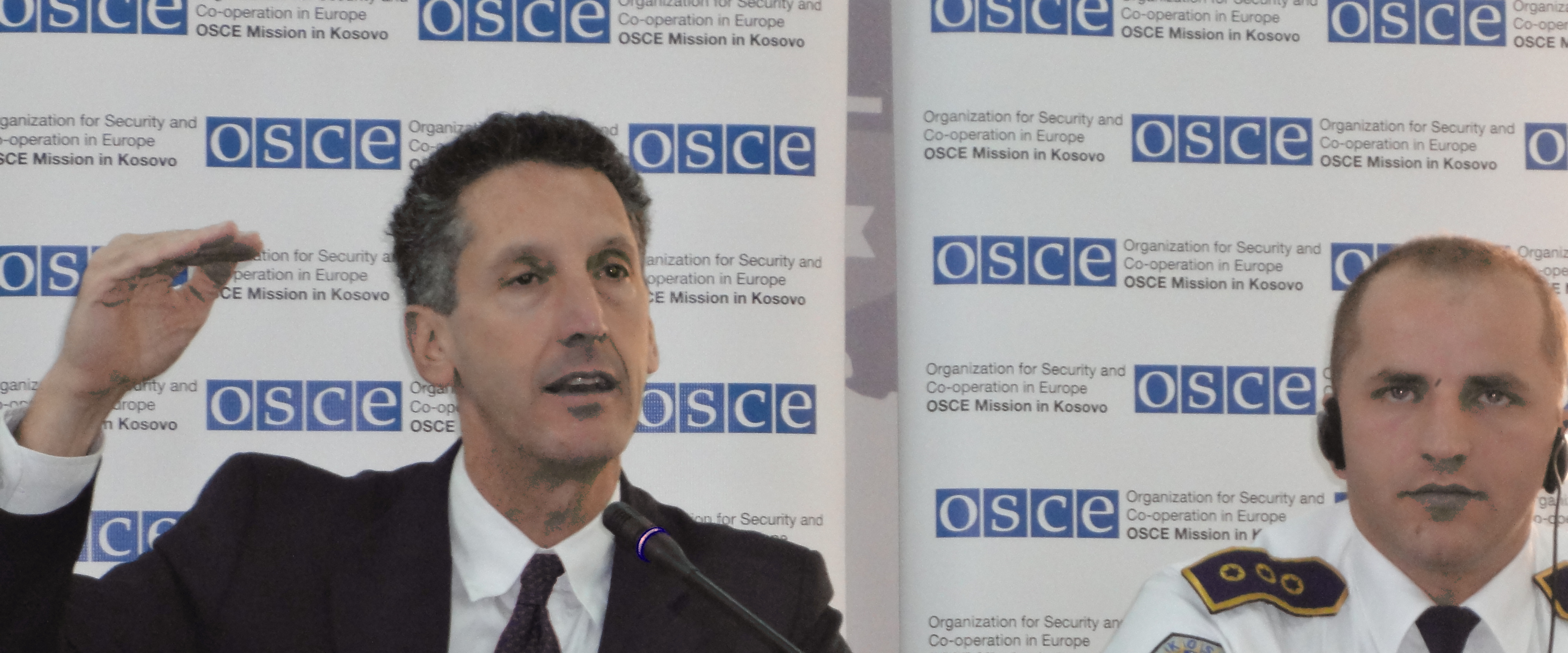 Edward P. Joseph at announcement of major OSCE-sponsored police initiative in Kosovo.