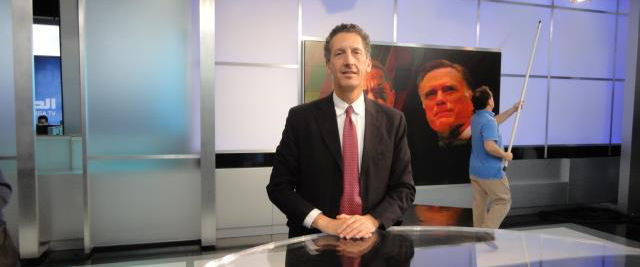 On the set of Al-Hurra, during a break of a broadcast on US Presidential Elections; October, 2012
